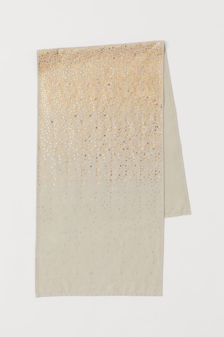 Runner with sequins - Beige/Gold-coloured - Home All | H&M CN
