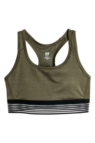 Sports bra Medium support - Dark khaki green - Ladies | H&M GB