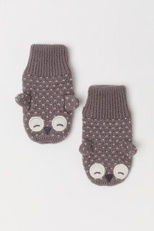Textured-knit mittens