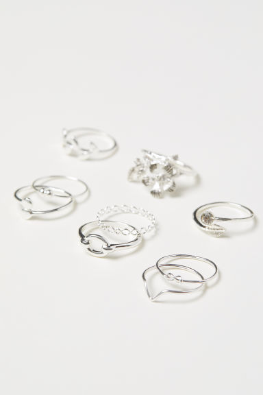 9-pack rings - Silver-coloured - Ladies | H&M