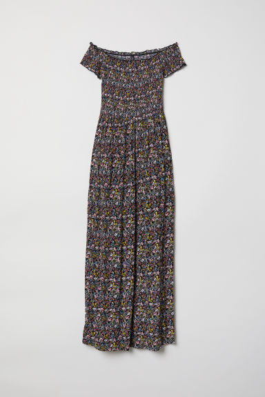 Patterned maxi dress - Black/Floral -  | H&M