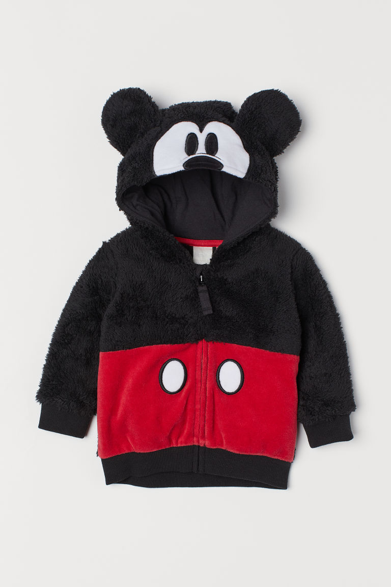 Pile hooded jacket - Black/Mickey Mouse - Kids | H&M CN