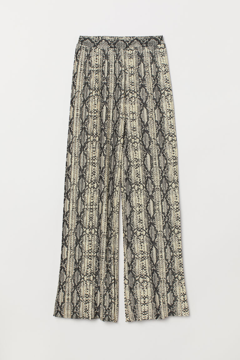 Pleated trousers - Grey/Snakeskin-patterned - Ladies | H&M CN