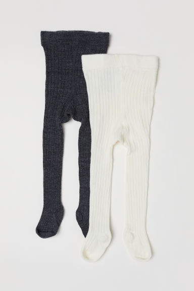 2-pack wool-blend tights - Dark grey marl - Kids | H&M