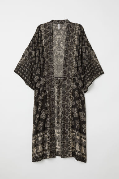 Patterned kimono - Black/Paisley patterned - Ladies | H&M CN