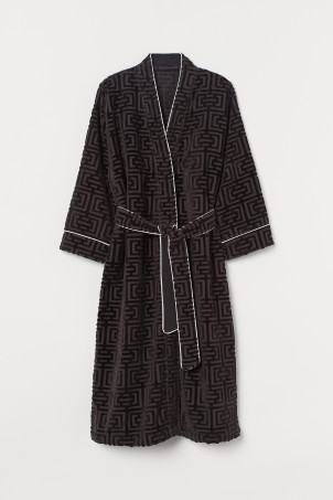 Jacquard-weave dressing gown