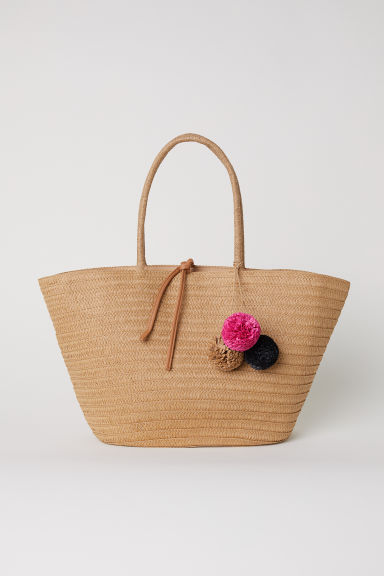 Straw bag with pompoms - Natural/Pompoms - Ladies | H&M GB