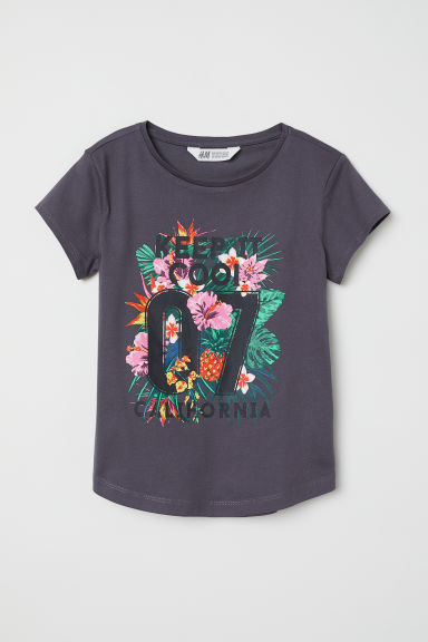 Top in jersey con stampa - Grigio scuro/Keep It Cool - BAMBINO | H&M IT