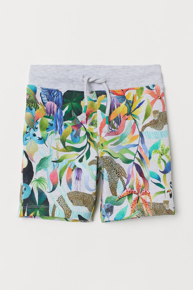 Patterned sweatshirt shorts - Light grey marl/Rainforest - Kids | H&M