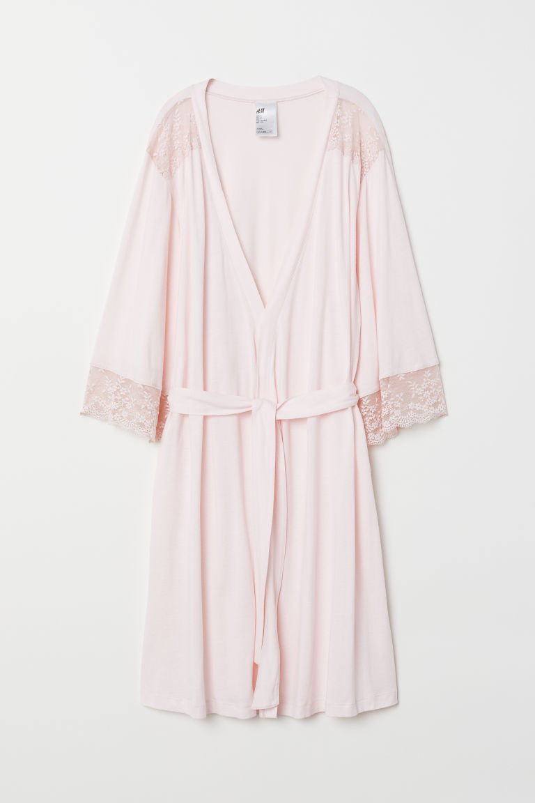 Kimono with lace - Light pink - Ladies | H&M