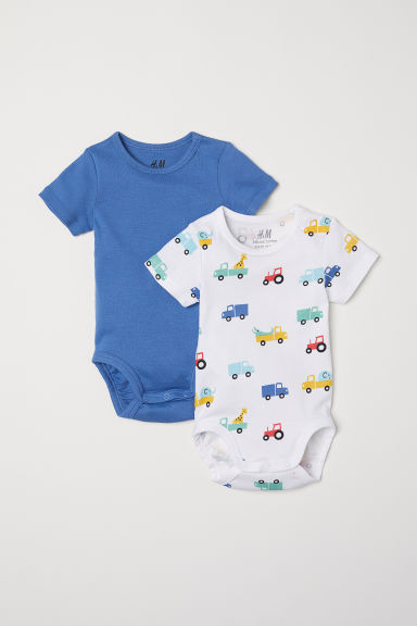 2-pack short-sleeved bodysuits - Blue/Lorries - Kids | H&M CN