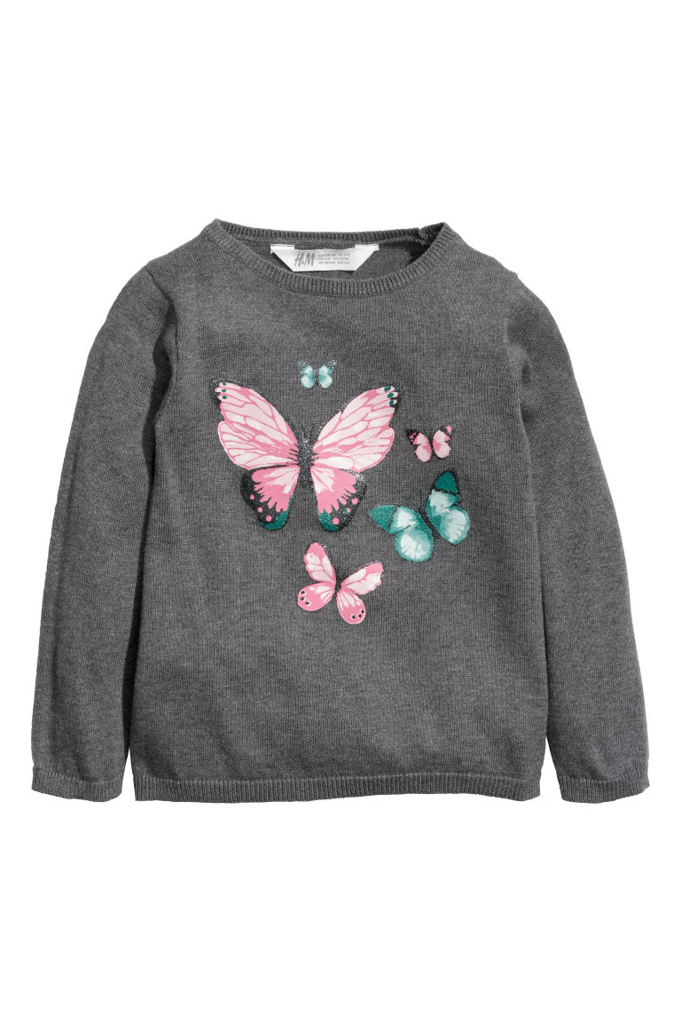 Fine-knit jumper - Dark grey/Butterflies - Kids | H&M GB