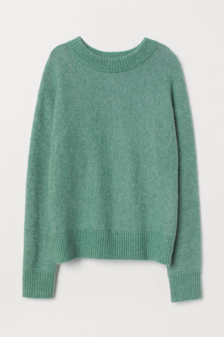Knitted mohair-blend jumper - Green - Ladies | H&M CN