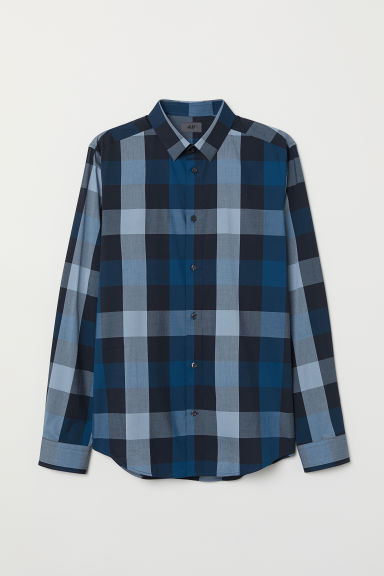 Checked shirt Slim Fit - Blue/Black checked - Men | H&M