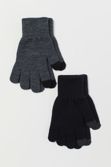 2-pack gloves - Black/Dark grey marl - Kids | H&M CN