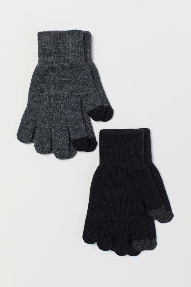 a31279fb95bd 2-pack gloves - Black/Dark grey marl - Kids | H&M ...