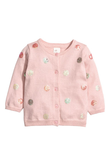 Cardigan with sequins - Light pink/Spots - Kids | H&M