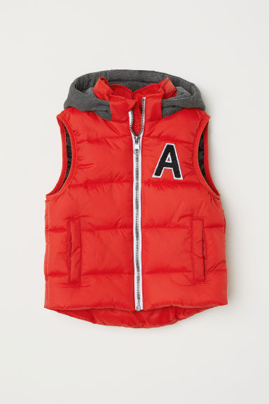 Padded gilet with a hood - Bright red - Kids | H&M CN