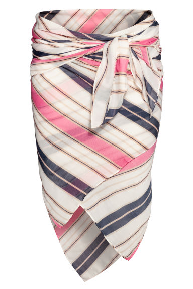 Patterned sarong - Natural white/Pink striped -  | H&M GB