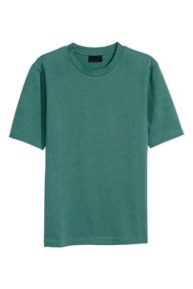 Ribbed T-shirt - Green - Men | H&M CN