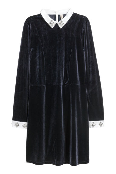 Velour dress with sparkles - Dark blue -  | H&M