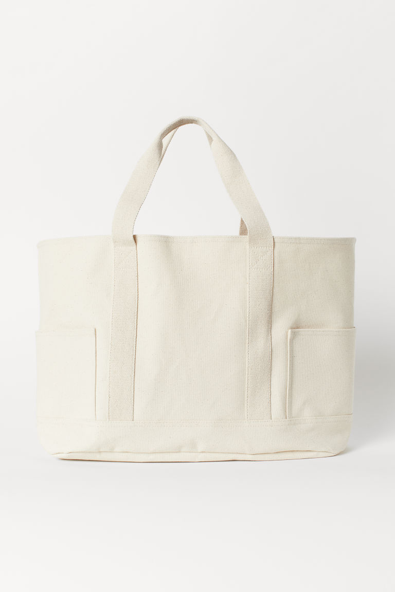 Cotton canvas beach bag - Natural white - Home All | H&M CN