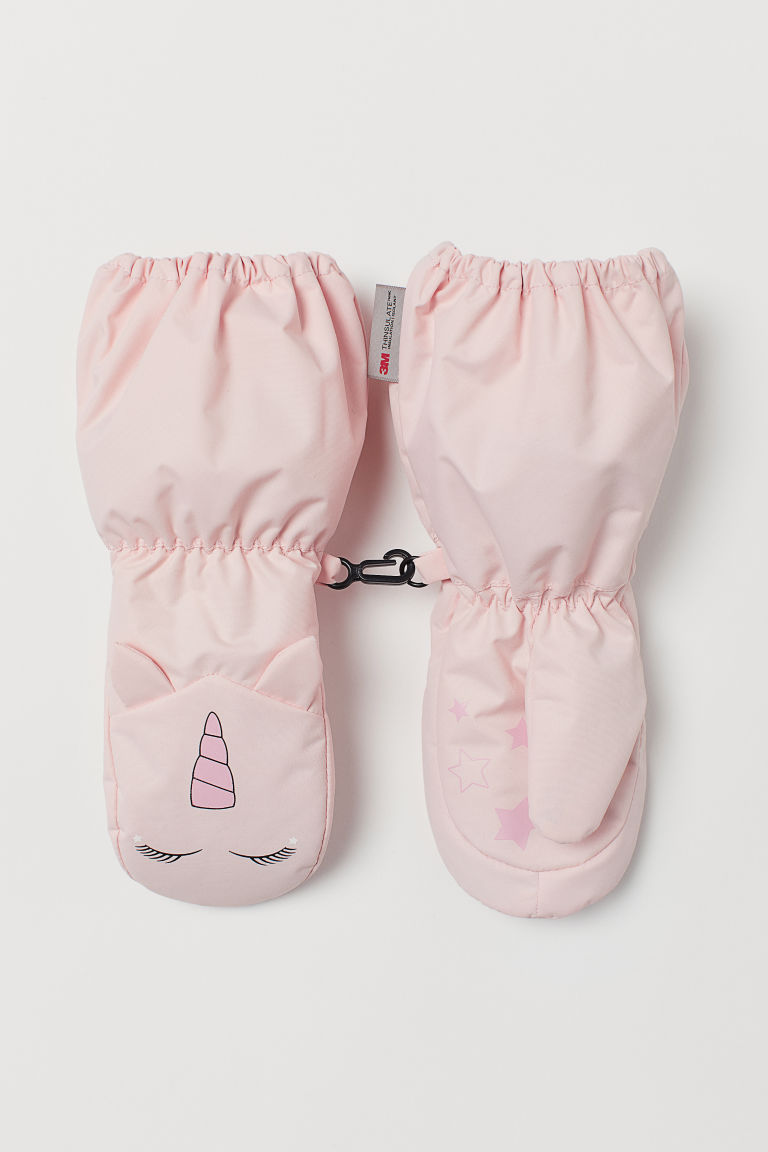 Ski mittens - Powder pink/Unicorn - Kids | H&M CN