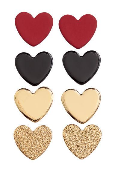 4 pairs stud earrings - Red/Hearts -  | H&M