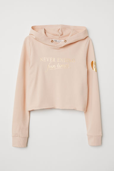 Short hooded top - Powder pink/Fun Times - Kids | H&M CN