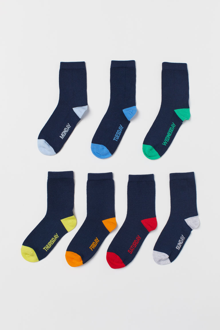 7-pack socks - Blue/Days of the week - Kids | H&M