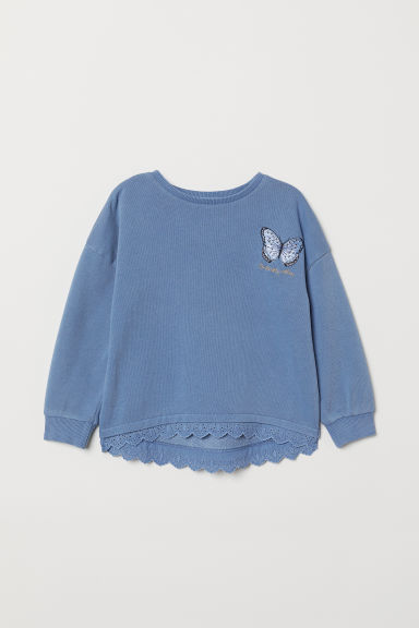Sweatshirt with embroidery - Light blue - Kids | H&M CN