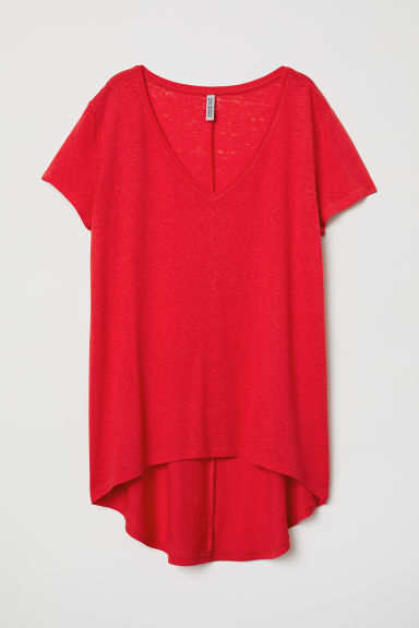 V-neck jersey top - Red - Ladies | H&M