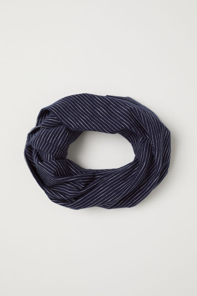 Jersey tube scarf - Dark blue/White striped - Kids | H&M