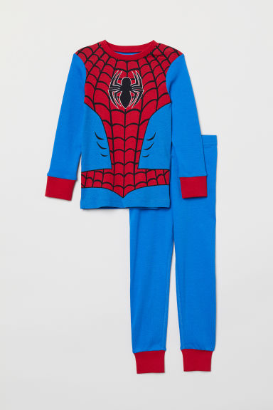 Jersey pyjamas - Bright blue/Spider-Man - Kids | H&M