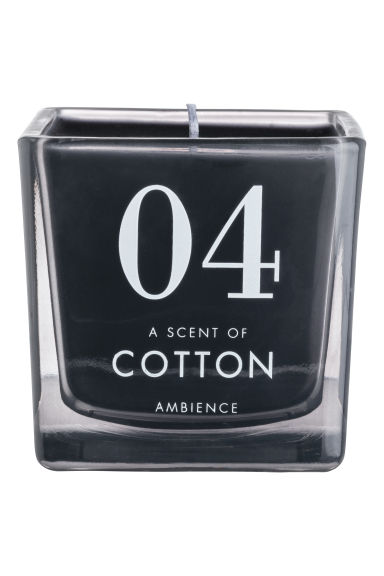 Scented candle in glass holder - Black/Cotton -  | H&M GB