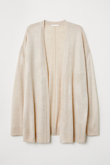 Fine-knit cardigan - Light beige marl -  | H&M CN