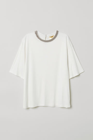 Top with Beaded Appliqués - White - Ladies | H&M CA
