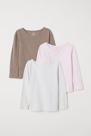 3-pack long-sleeved tops - Pink/Dark beige - Kids | H&M CN