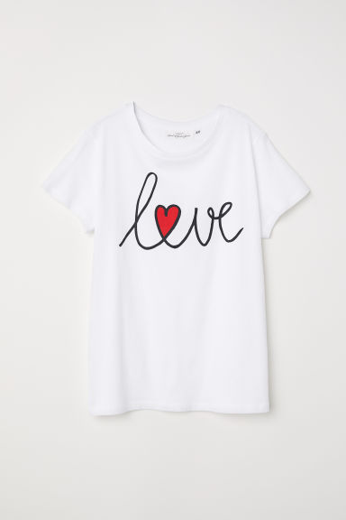 Printed T-shirt - White/Love - Ladies | H&M GB