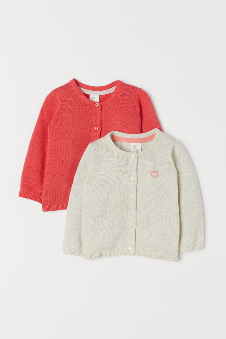 Cardigan in cotone, 2 pz - Rosso - BAMBINO | H&M IT