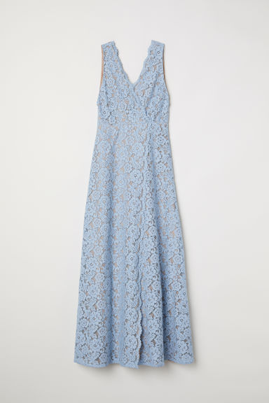 Long lace dress - Light blue - Ladies | H&M CN