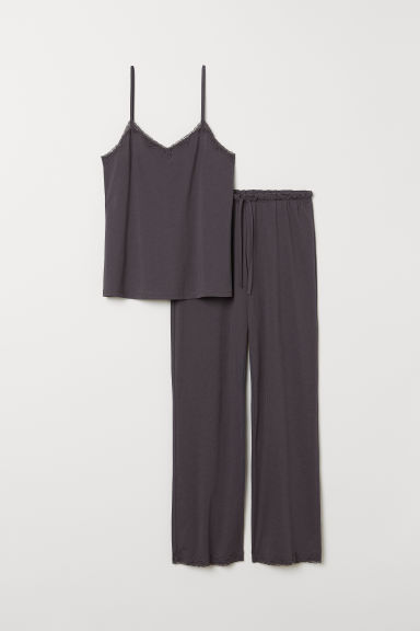 Pima cotton pyjamas - Dark grey - Ladies | H&M CN
