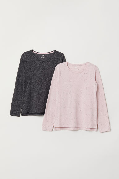 2-pack jersey tops - Light pink/Grey - Kids | H&M CN