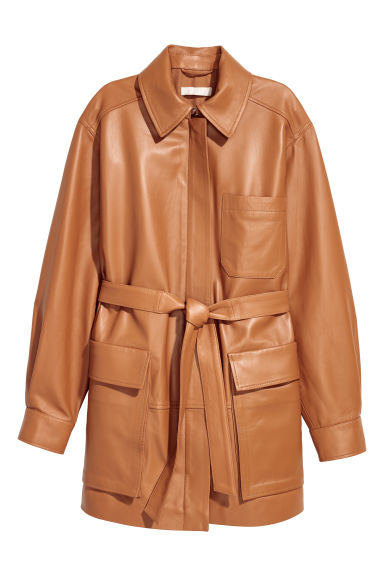Leather jacket with a tie belt - Light cognac brown -  | H&M IE