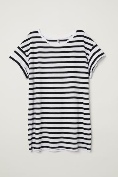 Long T-shirt - White/Black striped -  | H&M CN