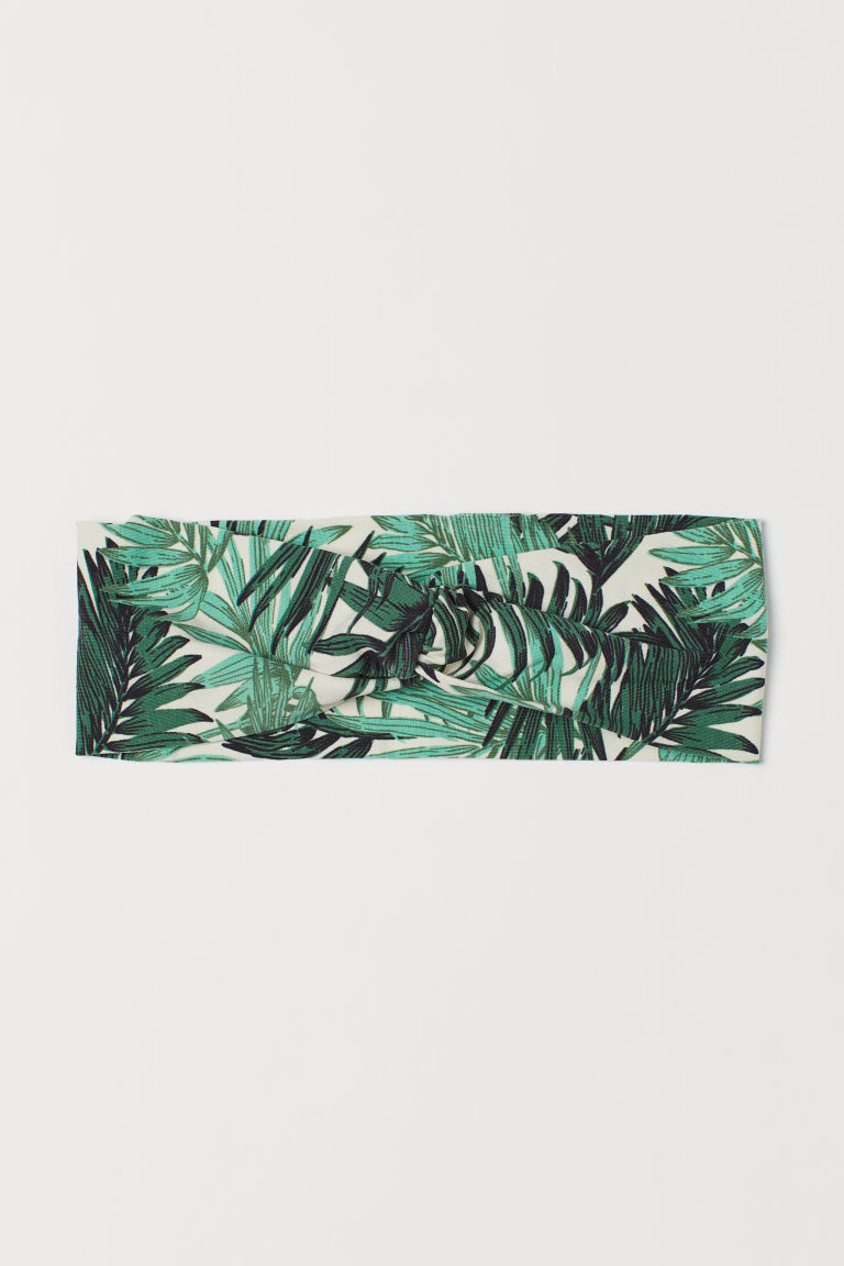 Hairband - Dark green/leaf-patterned - Ladies | H&M US