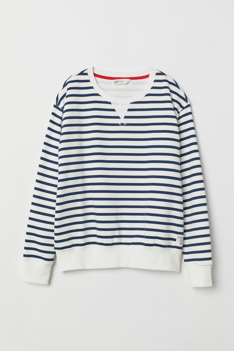 Sweatshirt - White/Dark blue striped - Ladies | H&M CN
