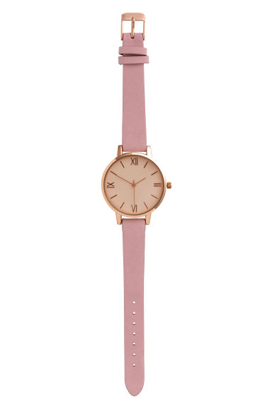 Watch with leather strap - Powder pink - Ladies | H&M GB