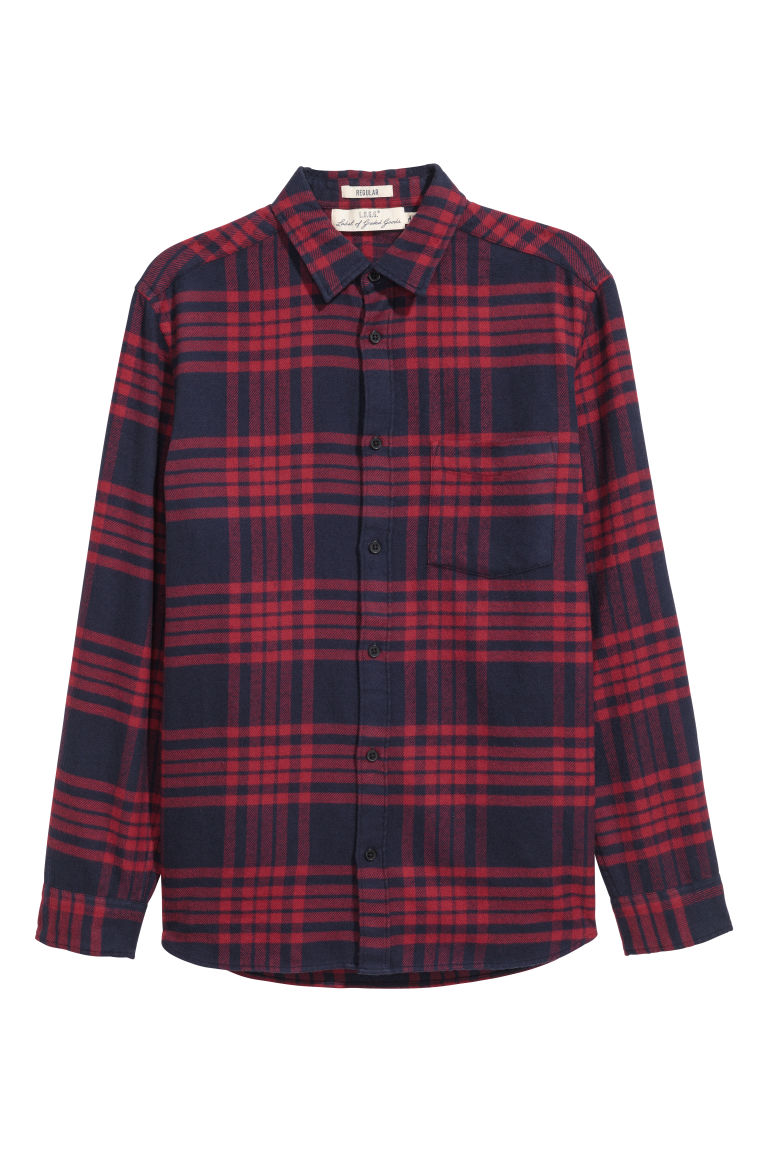 Flannel shirt Regular fit - Red/Checked - Men | H&M GB