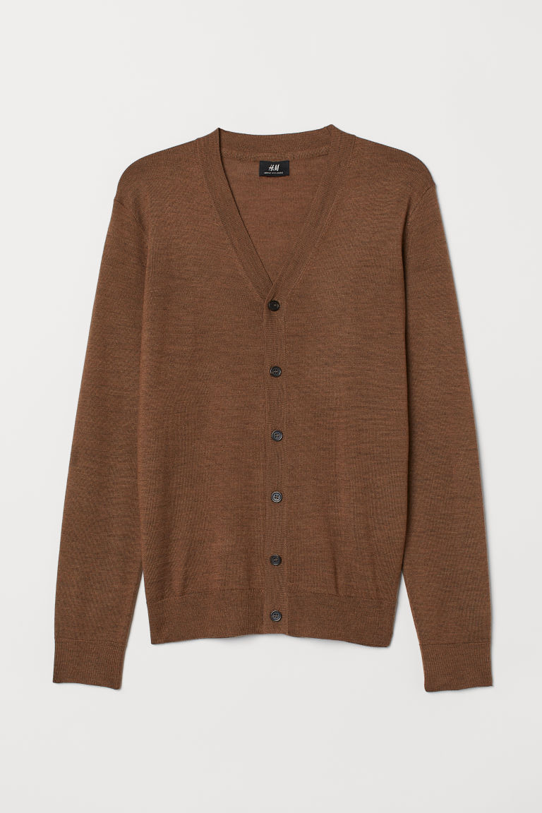 Knitted merino-blend cardigan - Brown marl - Men | H&M GB